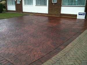 French fan cobble in brick Pattern Print Driveways in Hertfordshire